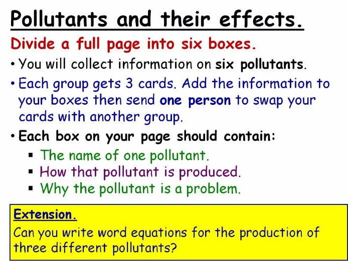 Air Pollution (from fuels) Year 8 Lesson PowerPoint (KS3 8Ed) Combustion Topic