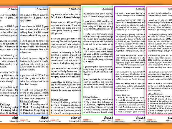 Autobiography Proofreading Activity