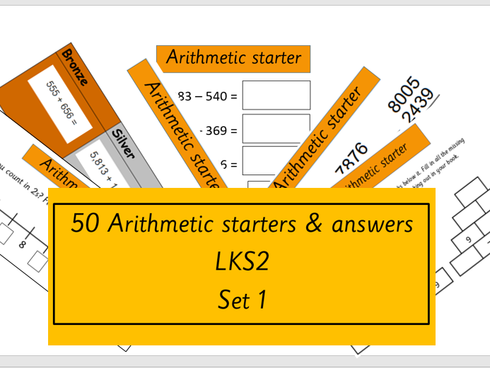 50 Arithmetic starters and answers for LKS2 Year 3 and 4 maths or morning work (SET 1)