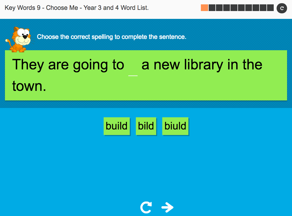 Key Words Spelling Interactive Exercise 9 - Choose Me - Year 3/4 Spag
