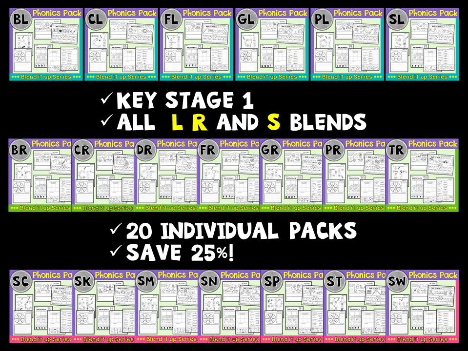 Phonics: L R S Blends Super Pack