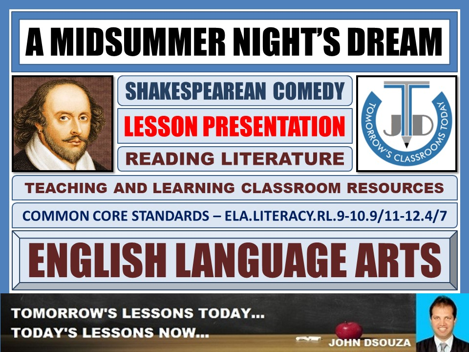 A MIDSUMMER NIGHT'S DREAM - SHAKESPEAREAN COMEDY - LESSON PRESENTATION