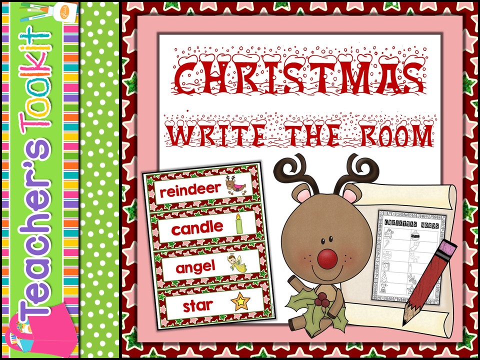 {Freebie} Christmas Vocabulary Read Write the Room Literacy Activity