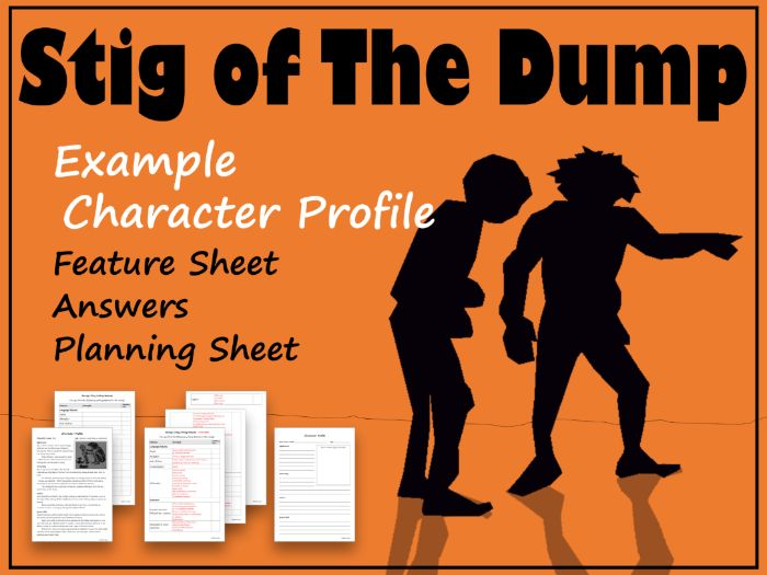 Stig of the Dump Character Profile Example, Feature Sheet, Answers & Template