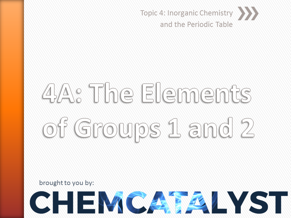EdExcel – AS Chemistry – Topic 4A: The elements of Groups 1 and 2