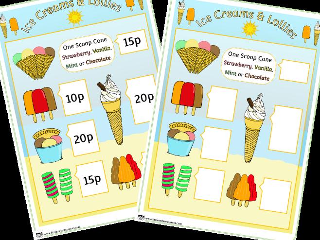 UNEDITABLE PDF Ice Cream Shop Role Play Menu