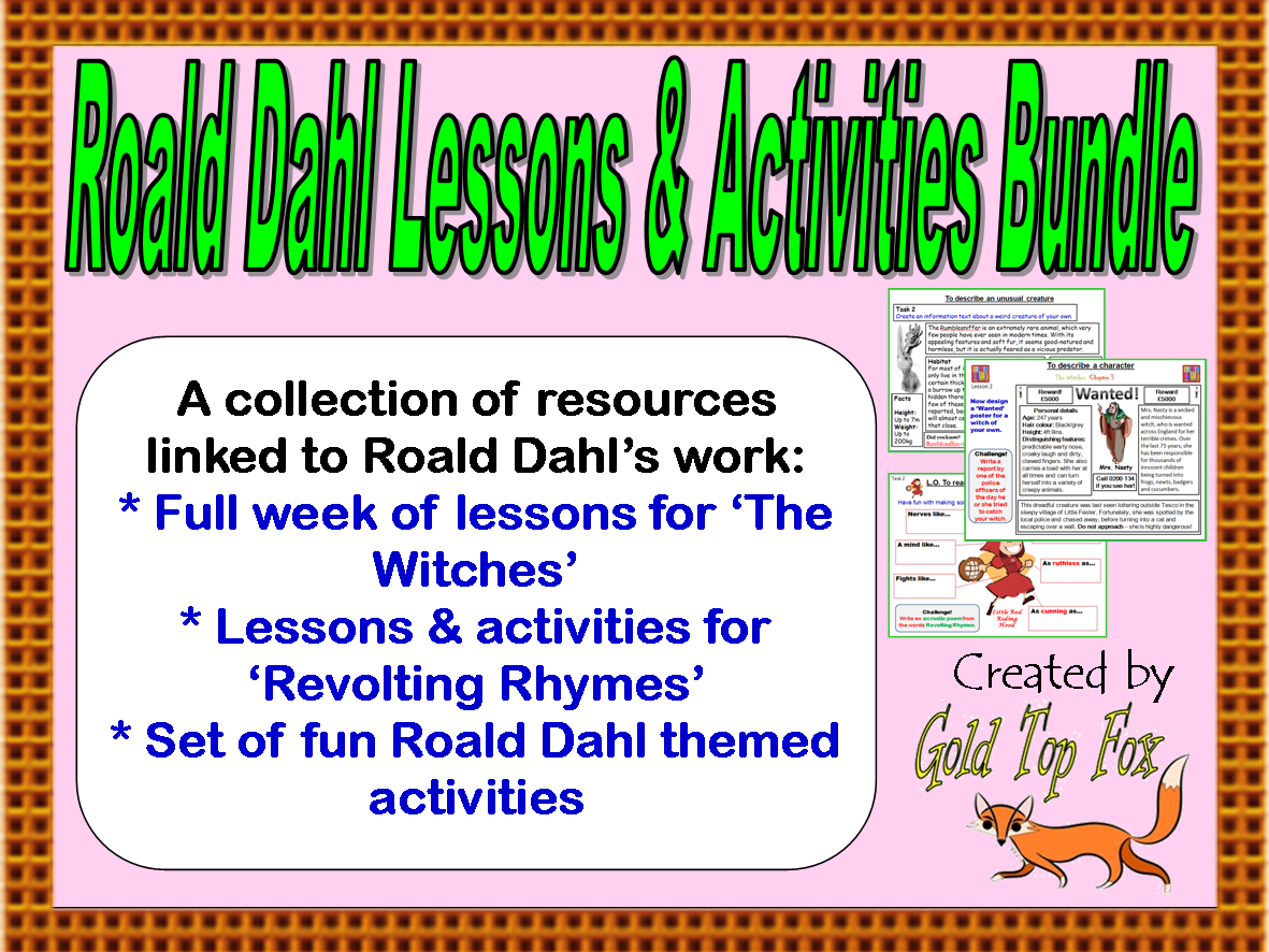 Workbooks the witches roald dahl worksheets : Roald Dahl Lessons and Activities Bundle by goldtopfox - Teaching ...