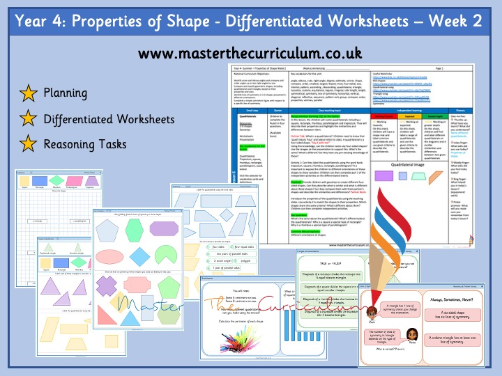 Year 4- Week 2 -Properties of Shape- Differentiated Worksheets- White Rose Style