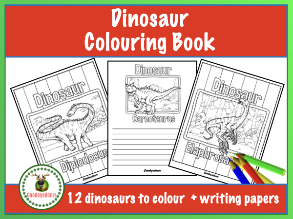 Dinosaur Colouring Book + Writing Pages