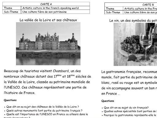 French AQA A-level speaking cards (artistic culture)
