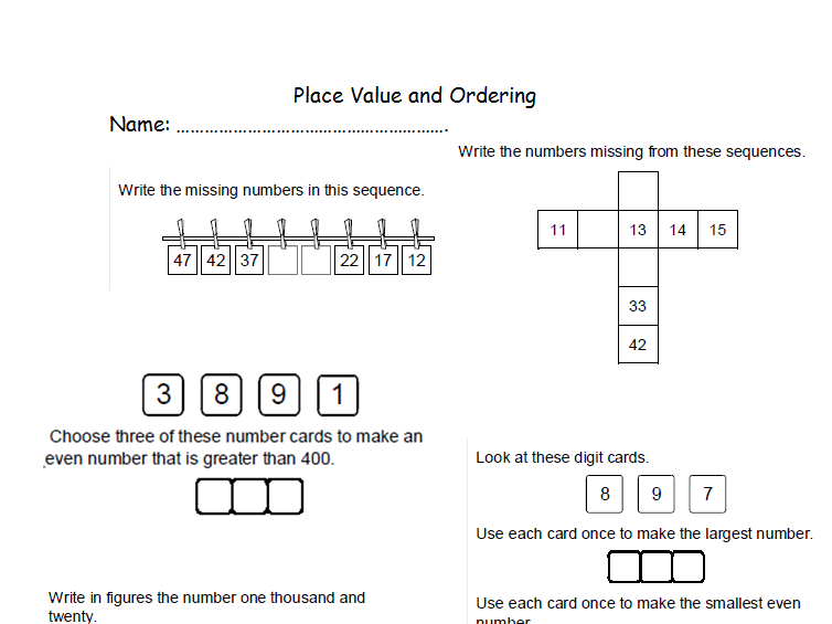 Place Value Assessment for Learning