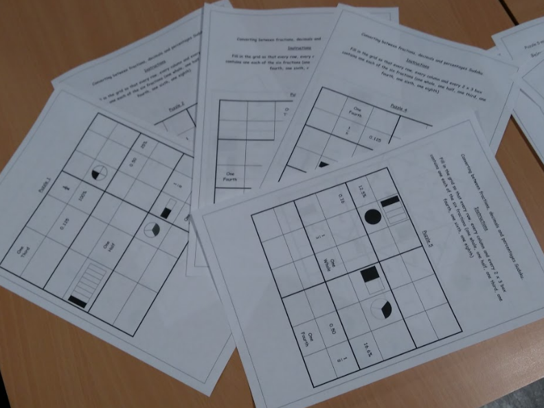 Fraction, Decimals and Percentages Sudoku 5 puzzles