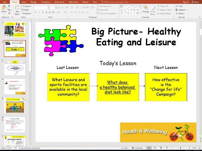 Health and Wellbeing - healthy eating