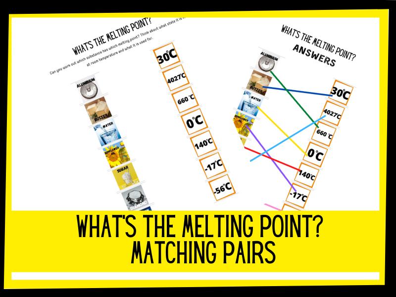 What's the melting point? Matching pairs | KS2 KS1 Primary science