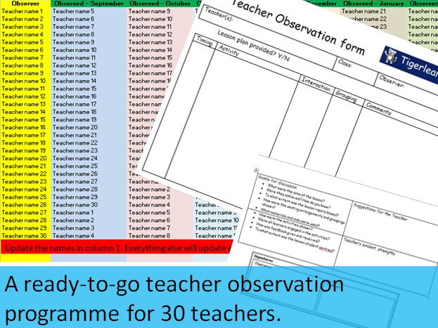 A ready-to-go peer observation programme for 30 teachers - planner and observation sheets