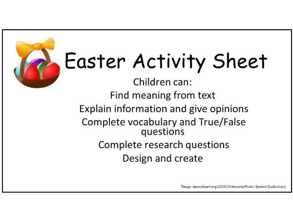 Easter: Comprehension and Activity Sheet