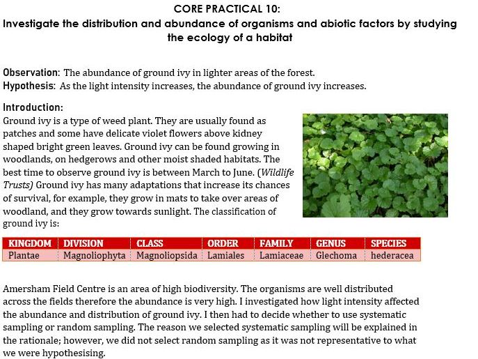 Core Practical 10 - Study on the abundance and distribution of organisms in a habitat
