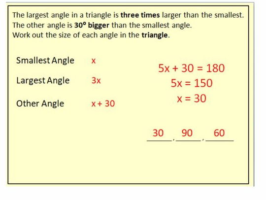 WORDED GCSE forming and solving equations - angles in triangles / ages