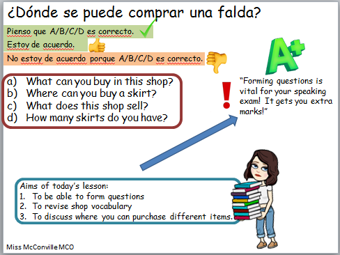 Whole Lesson Talking About Shops and Using Questions