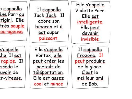 Elle est hypercoool / to be able to describe a superhero/year 7 or 8