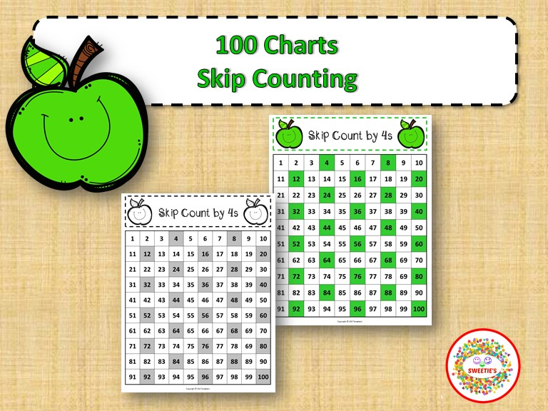 100 Number Charts with Skip Counting