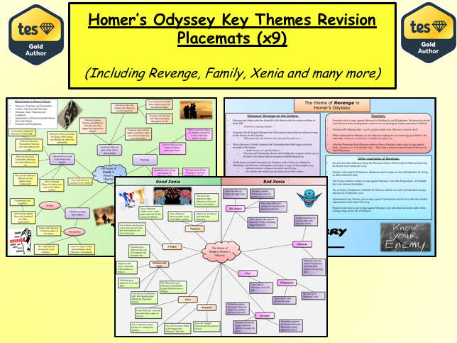 Homer's Odyssey Key Themes Revision Placemats (x9)