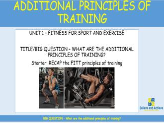 Additional Principles of Training: BTEC Sport level 2 Unit 1 (2018)