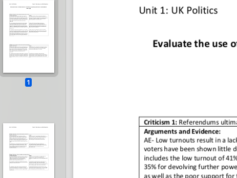 """EDEXCEL A level Politics """"Evaluate the use of referendums to determine important issues"""" essay plan"""
