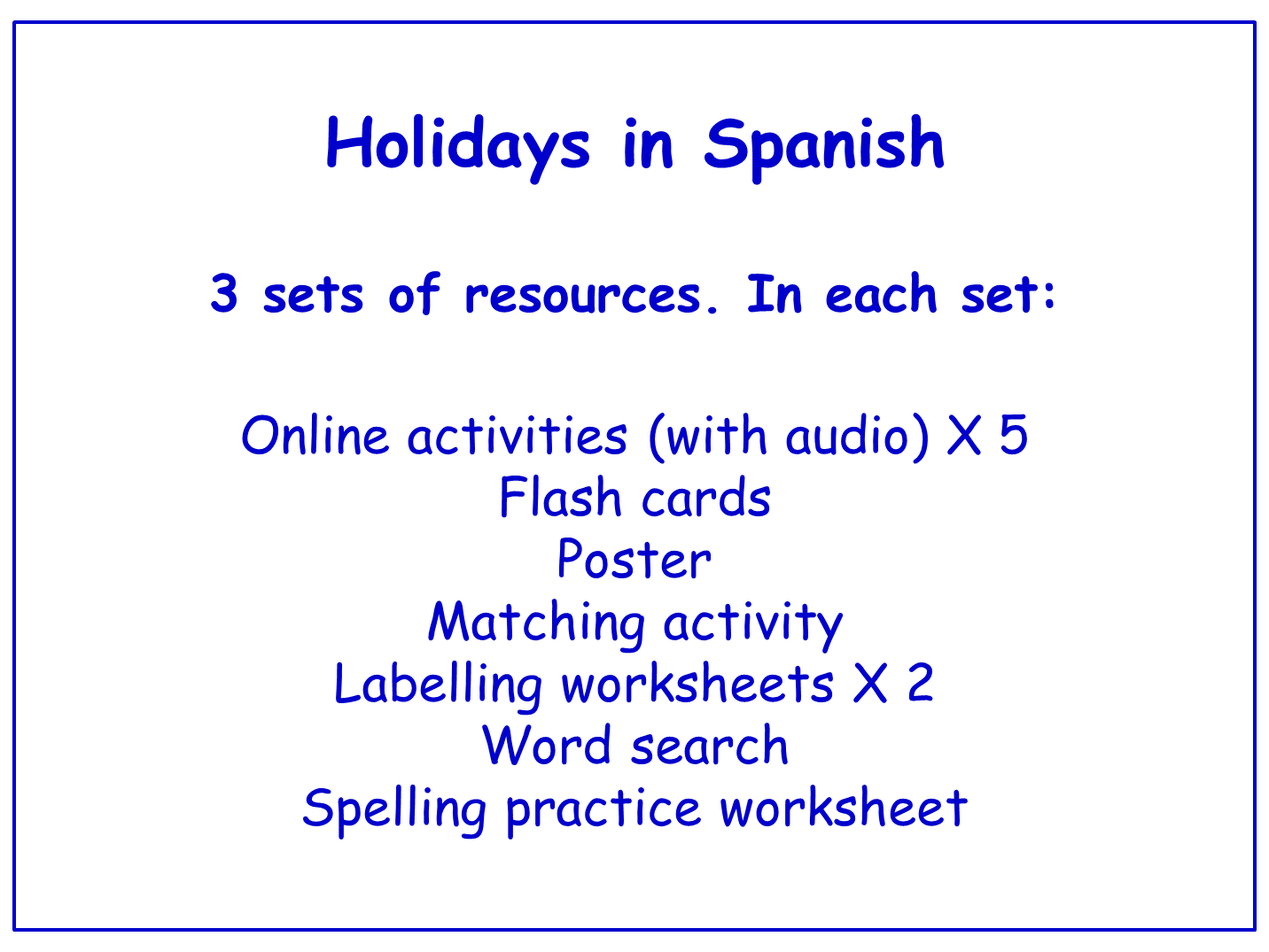 Holidays in Spanish  Worksheets, Games, Activities and Flash Cards (with audio) Bundle (3 sets)