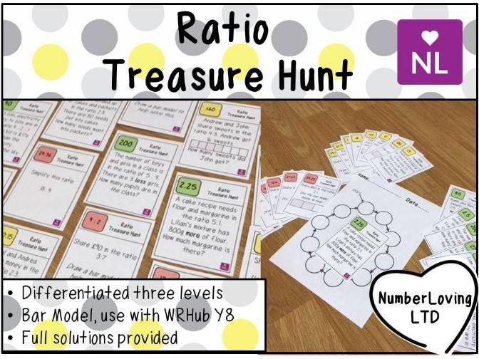 Ratio White Rose Year 8 using Bar Model Treasure Hunt