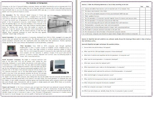 The Evolution of Computers - - Reading Comprehension Worksheet / Text