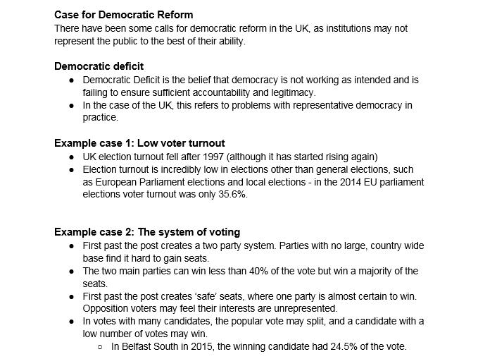 A level Politics: Case for Democratic Reform