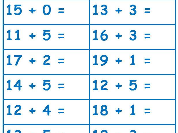 ADDITION SUMS FOR YEAR 1 by iamdeborah2016 - Teaching Resources - Tes