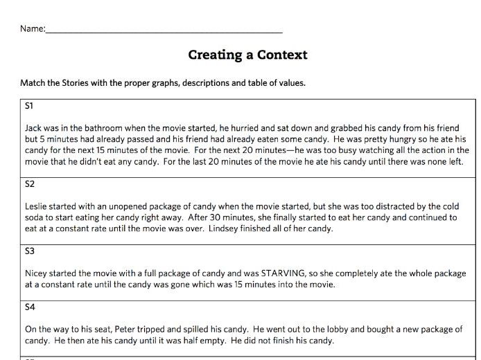 Matching Stories to Graphs, Tables of Values and Descriptions