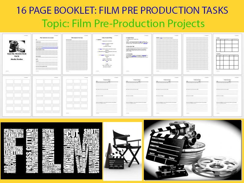 SHORT FILM/TRAILER/MOVING IMAGE PRE-PRODUCTION BOOKLET MEDIA STUDIES 16 page BOOKLET