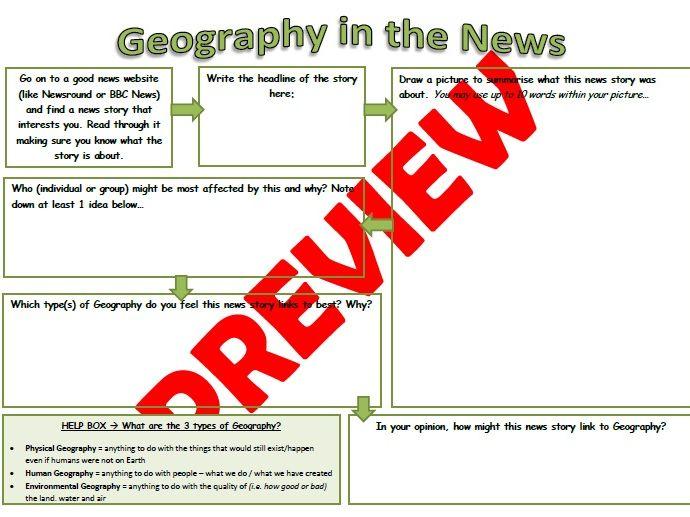 Geography in the News - KS2 / KS3 Worksheet