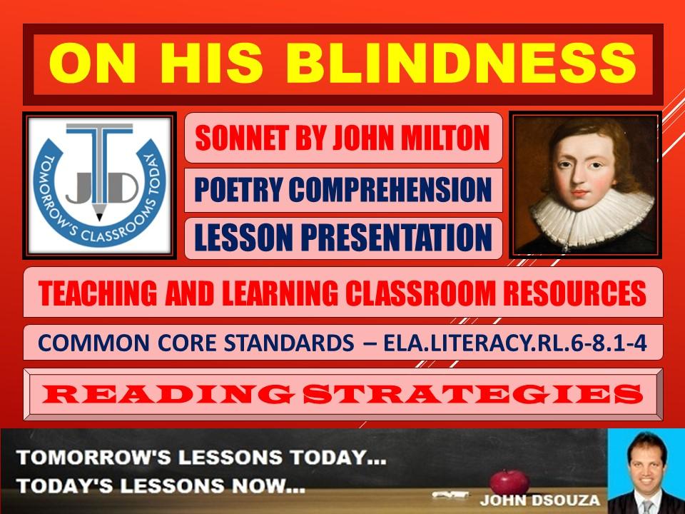 ON HIS BLINDNESS - ANALYZING MILTONIC SONNET - LESSON PRESENTATION
