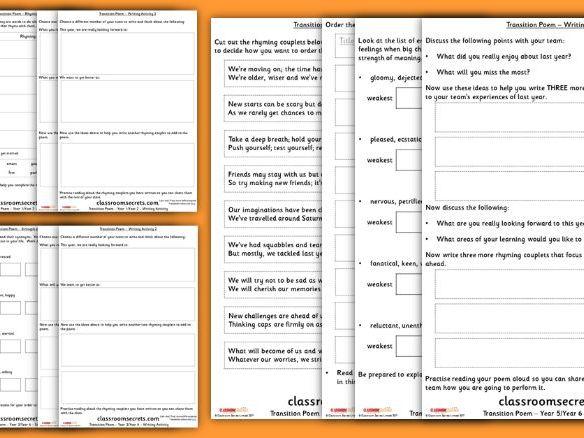 Transition Day Poem Group Activity KS1 and KS2