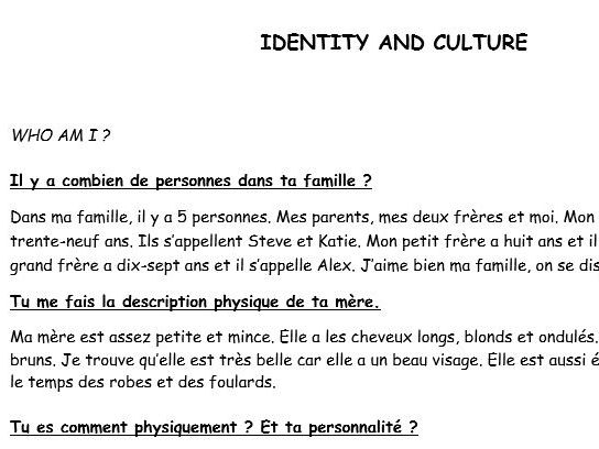 GCSE French Exam Practice Identity and Culture