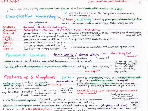 OCR A Level Biology Classification & Evolution Revision Poster