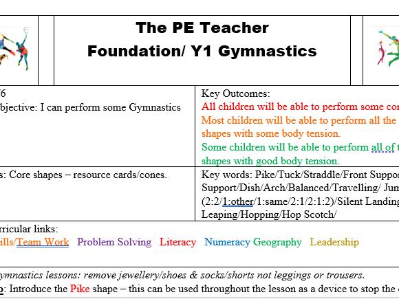 F/Y1 Gymnastics: Performing Core Shapes