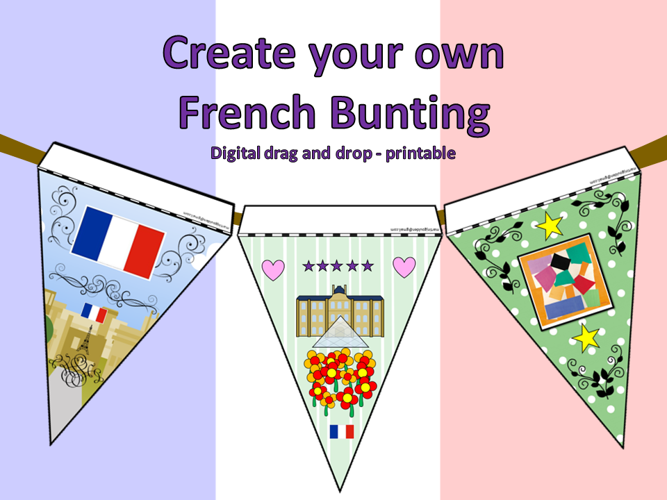 Create your own French (Paris) bunting - Computing drag and drop - printable