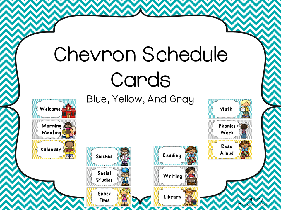 Daily Schedule Cards-Blue, Yellow, and Gray Chevron