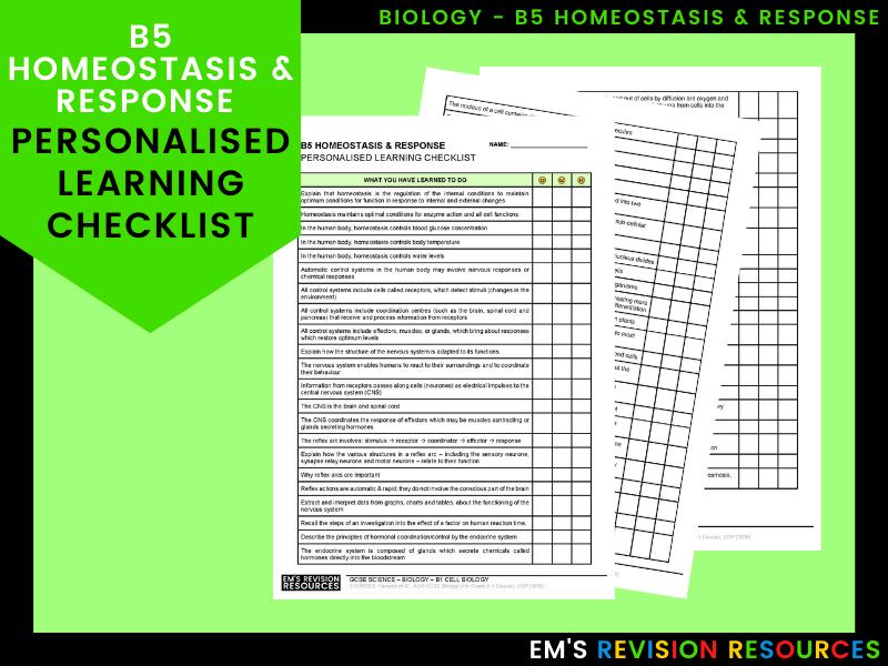 B5 Homeostasis & Response [Personal Learning Checklist]