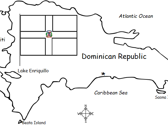 DOMINICAN REPUBLIC - Introductory worksheet with map and flag