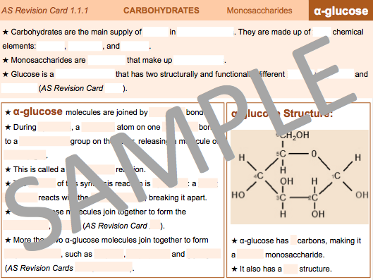 AS/A Level Year 12/13 Biology Biological Molecules Carbohydrate Revision Cards