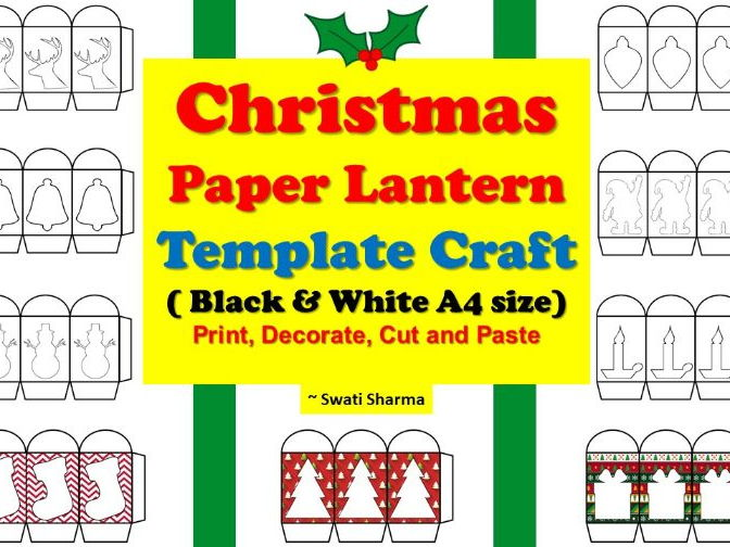 lantern template pdf  Christmas Paper Lantern Template Craft