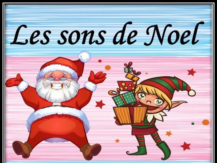 Christmas sounds in French. Les sons de Noel.  Listening and guessing game.