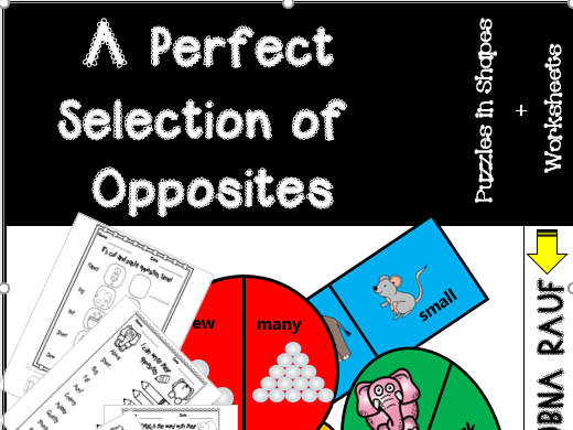 Opposites Puzzles Shapes ( opposites worksheets)