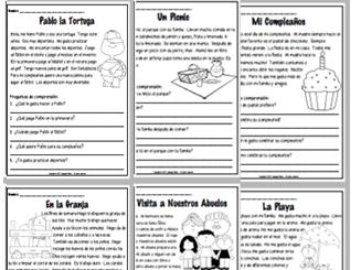 SPANISH - Reading Comprehension Short Stories - Comprensión de Lectura